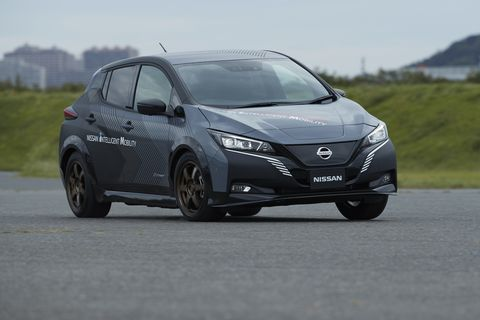This Nissan prototype started out as a Leaf e+, but with the addition of a rear motor, it's become a demonstrator for a new all-wheel drive electric powertrain. The car's total output is 304 hp and 502 lb-ft.