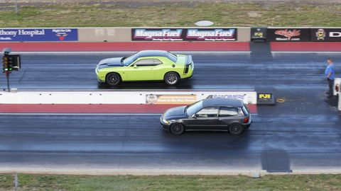 I was pretty sure I wasn't going to beat the green Mopar.