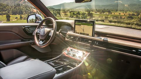 The Aviator's interior does not follow the German, Japanese or Korean rivals.