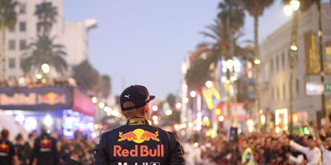 Max Verstappen contemplates Hollywood. Can a movie deal be far off? Formula 1 cameto Hollywood, in fact, right down Hollywood Blvd., thanks to the Formula 1 Hollywood Ride of Fame, brought to you by local mega-supercar dealer O'Gara Coach.