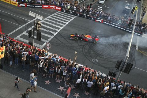 Verstappen does a donut for the crowd at the Formula 1 Hollywood Ride of Fame.