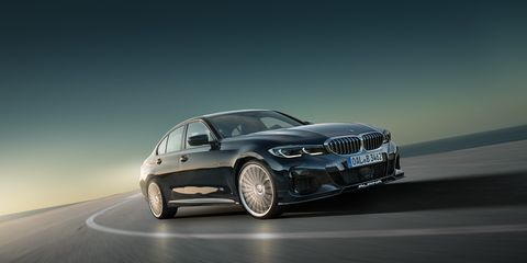 in typical alpina fashion, the new b3 sedan gets lower suspension, more power and a subtle body kit, but the car's 30 liter straight six has also been tuned it now produces 462 hp and 500 plus lb ft of torque it's mated to an eight speed automatic