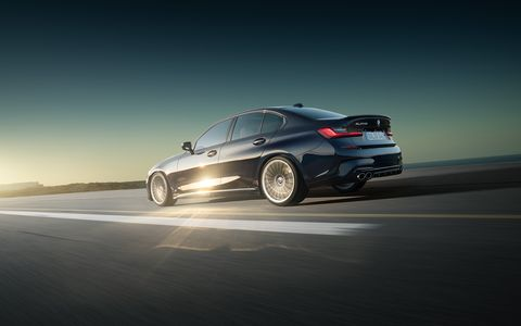 In typical Alpina fashion, the new B3 sedan gets lower suspension, more power and a subtle body kit, but the car's 3.0-liter straight six has also been tuned; it now produces 462 hp and 500-plus lb-ft of torque. It's mated to an eight-speed automatic.