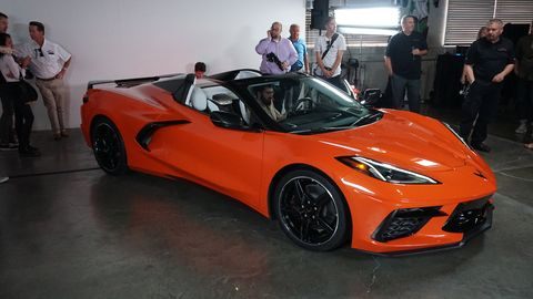 The Corvette convertible was revealed simultaneously in Miami and in L.A. Here's the L.A. reveal.