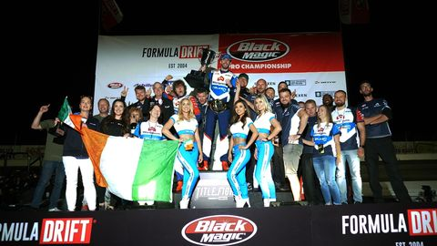 James Deane and half the population of Ireland celebrate his third championship in a row at the Formula Drift finale in Irwindale.