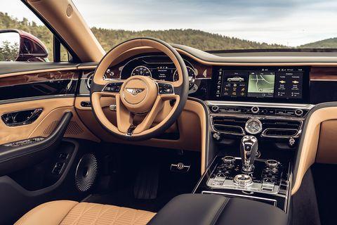 The interior of the 2020 Bentley Flying Spur luxury sedan.