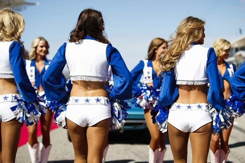 The Dallas Cowboys Cheerleaders entertain the crowds at the F1 US Grand Prix at the Circuit of the Americas, Sunday Nov. 3, 2019