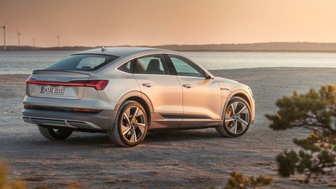 The 2020 Audi E-tron Sportback uses the same powertrain as the E-tron crossover but gets a slightly greater range due to the lower coefficient of drag.