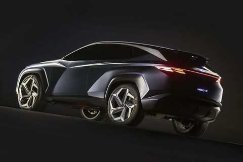 Compared to production offerings like the Hyundai Palisade, the Vision T's stance is on the sportier side.