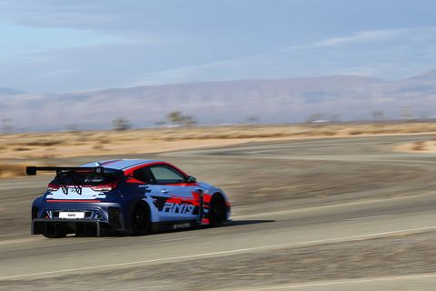We got to drive the Hyundai RM19on the handling course of Hyundai's California Proving Grounds up in the Mojave Desert.