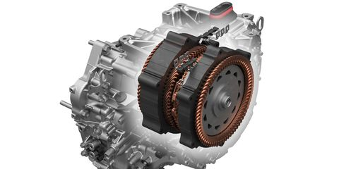 """The """"transmission"""" is actually two electric motors, one for propulsion, the other for electricty generation, and a clutch. Trippy."""