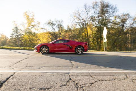 Watch the profile of themidengine2020 Chevrolet Corvette Stingray zoom past—looks very Ferrari here.
