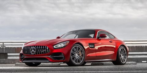The 2020 Mercedes-AMG GT C comes with a 4.0-liter twin-turbo V8 and seven-speed dual-clutch transmission.