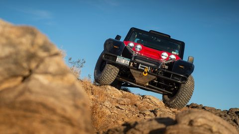 The SCG Boot comes with Fox shocks and 19 inches of suspension travel.