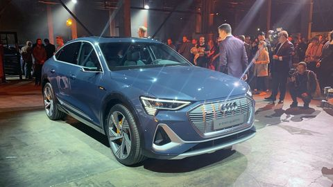 The 2020 Audi E-tron Sportback has an electric motor on each axle and a flat battery pack in between.