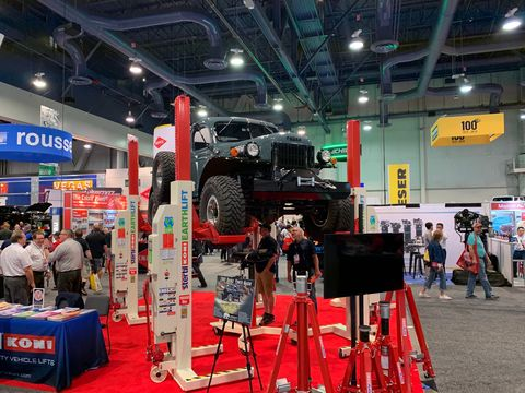 This 1949 Dodge Power Wagon is modified by Legacy Classic Trucks and hoisted by EarthLift. Fun fact:This particular Dodge gets power from a Chevrolet LS3 engine.