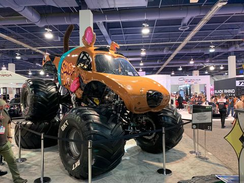 The front three-quarters of the Scooby-Doo monster truck that will run in the 2020 Monster Jam