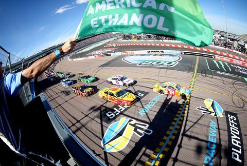 "<span id=""CT_Main_1_cache_lblCaption"">Kyle Busch, driver of the #18 M&amp;M's Toyota, takes the green flag to start the Monster Energy NASCAR Cup Series Bluegreen Vacations 500 at ISM Raceway on November 10, 2019 in Avondale, Arizona.</span>"