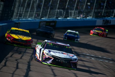 "<span id=""CT_Main_1_cache_lblCaption"">Denny Hamlin, driver of the #11 FedEx Ground Toyota, races during the Monster Energy NASCAR Cup Series Bluegreen Vacations 500 at ISM Raceway on November 10, 2019 in Avondale, Arizona.</span>"