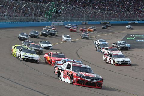 "<span id=""CT_Main_1_cache_lblCaption"">Christopher Bell, driver of the #20 Rheem Toyota, leads a pack of cars during the NASCAR Xfinity Series Desert Diamond Casino West Valley 200 at ISM Raceway on November 09, 2019 in Avondale, Arizona.</span>"