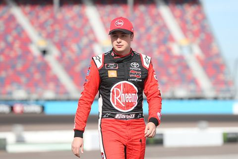 "<span id=""CT_Main_1_cache_lblCaption"">Christopher Bell, driver of the #20 Rheem Toyota, walks to his car during qualifying for the NASCAR Xfinity Series Desert Diamond Casino West Valley 200 at ISM Raceway on November 09, 2019 in Avondale, Arizona.</span>"
