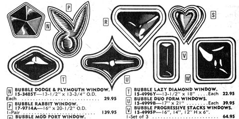 It must have been hard to choose between the Playboy Bunny window and the Chrysler Pentastar window.