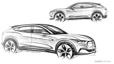 As with any new car, the 2021 Ford Mustang Mach-E was cartoonishly sketched before it was built.