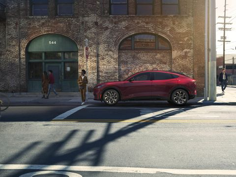 In profile there's more Model X than Mustang.