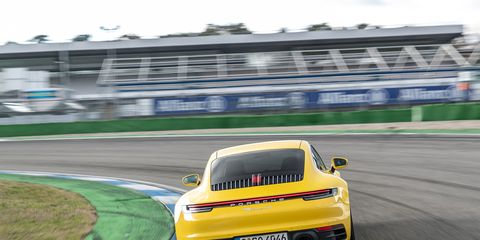 The last generation Porsche 911 is underpinned by the 992 chassis and still handles the Hockenheimring, in Germany, just fine