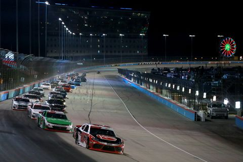 "<span id=""CT_Main_1_cache_lblCaption"">Christopher Bell, driver of the #20 Rheem Toyota, leads a pack of cars during the NASCAR Xfinity Series O'Reilly Auto Parts 300 at Texas Motor Speedway on November 02, 2019 in Fort Worth, Texas. </span>"