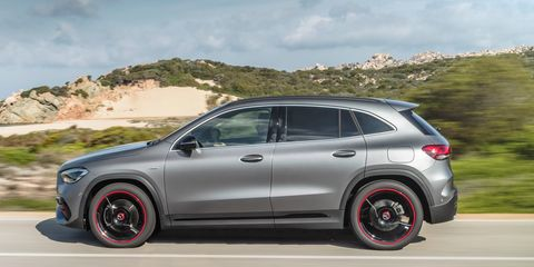 The Mercedes-Benz GLA250delivers 221 hp.