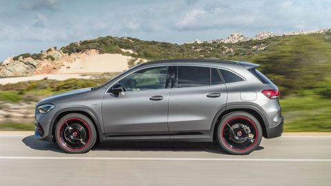 The Mercedes-Benz GLA250 delivers 221 hp.