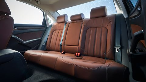 Thereis seating for three in the rear of the 2020 Volkswagen Passat.