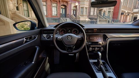 The 2020 Volkswagen Passat's screen and switchgear are essentially the same as before.
