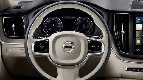 The 2020 Volvo XC60 Inscription features redundant buttons on the steering wheel.