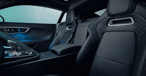 An example of the ebony suedecloth interior in the 2021 Jaguar F-Type First Edition models.