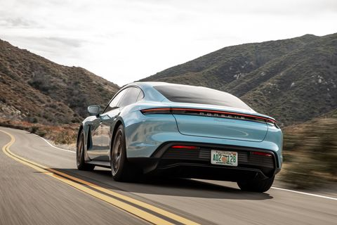 The sloped back roof, which Porsche calls the flyline, flows into the rear of the car gracefully.