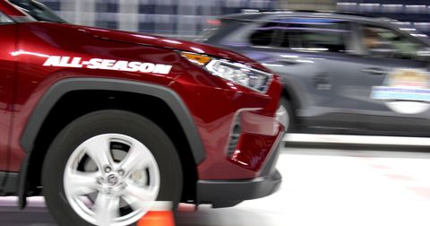 The Rav4 equipped with all-seasons crossed the distance in 3.9 seconds at a 14.9 mph. It then took 60.2 feet to stop.