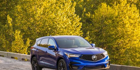 The 2019 Acura RDX, at least in our tester's mid-level A-Spec trim, has proved itself to be an engaging driver -- especially for a practical compact crossover. It's powered by a 272-hp turbocharged inline-four good enough to make you forget about wanting a V6. The car shown is painted apex blue pearl; our tester, painted white, is equally striking.
