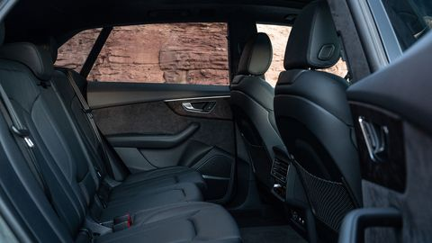 The Audi Q8 gets a standard panoramic sunroof, leather seats, Audi's 12.3-inch 'virtual cockpit' digital instrument cluster and more; you can make it even more luxurious from there. In back, there's actually more second-row than you'll find in the Q7.