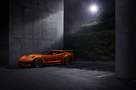 The 2019 Chevrolet Corvette ZR1 delivers 755-hp and 715 lb-ft of torque. Top speed with the low wing is 212 mph; the high wing cuts that to 202 mph