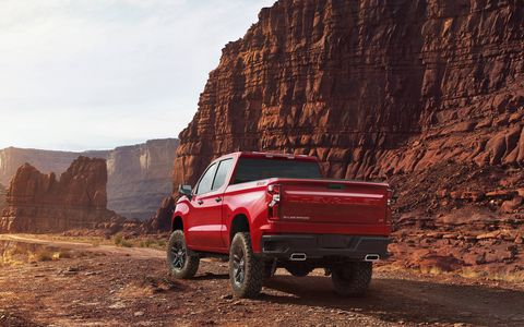 The 2019 Chevy Silverado is 450 pounds lighter than the outgoing model. Exterior swing panels (doors, hood and tailgate) are made of aluminum while fixed panels (fenders, roof and bed) are made of steel.
