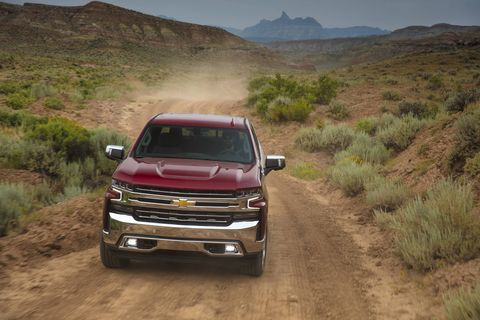 The 2019 Chevrolet Silverado LTZ is the level below High Country with plenty of kit inside and chrome bumpers, grille, mirror caps, and door handles on the outside.