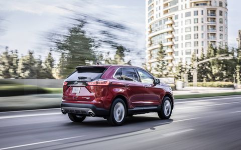 The 2019 Ford Edge gets a 250-hp, 2.0-liter four and will go on sale late in the summer of 2018.