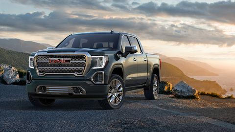The 2019 GMC Sierra Denali comes with either a 355-hp, 5.3-liter V8 or a 420-hp 6.2-liter V8.