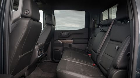 The 2019 GMC Sierra Denali gets an interior upgrade including premium leather seats, open-pore ash wood trim and dark-finish aluminum.