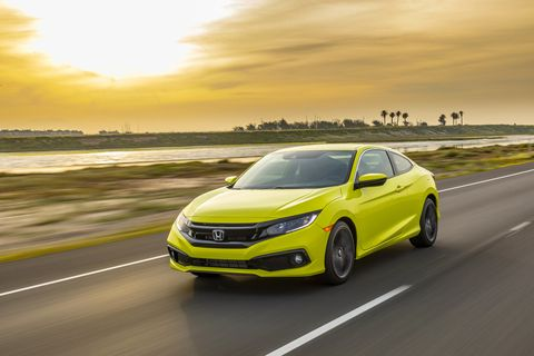 The 2019 Civic comes with improvements throughout the lineup. This is the new Civic Coupe Sport, which gets returned shocks and rear control arms, thicker front stabilizer bar and 18-inch wheels. Electric green paint can be seen from the International Space Station.