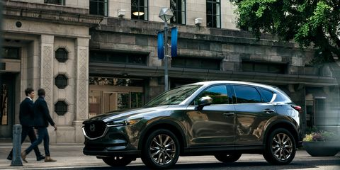 The 2019 Mazda CX-5 offers either a 2.5-liter four making 187 hp or a 2.5-liter turbo four making 250 hp.