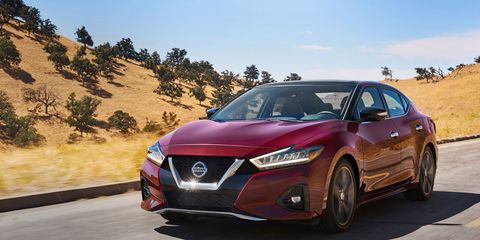 The 2019 Nissan Maxima comes with a V6 and a CVT making 300 hp.
