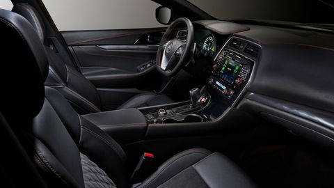 The 2019 Nissan Maxima carries over much of its interior styling from 2018 but is now available with Nissan Safety Shield 360 and 10 airbags.